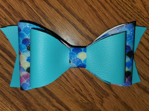 Light Blue/Blue Mermaid Scale Faux Leather Hairbow