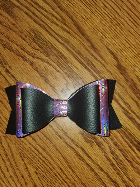 Holographic Pink Mermaid Scales/Solid Black Faux Leather Hairbow