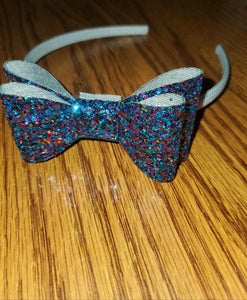 Chunky Dark Blue Glitter Faux Leather Bow/White Headband