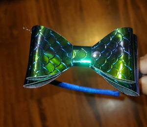 Green Holographic Mermaid Scales/Royal Blue Headband