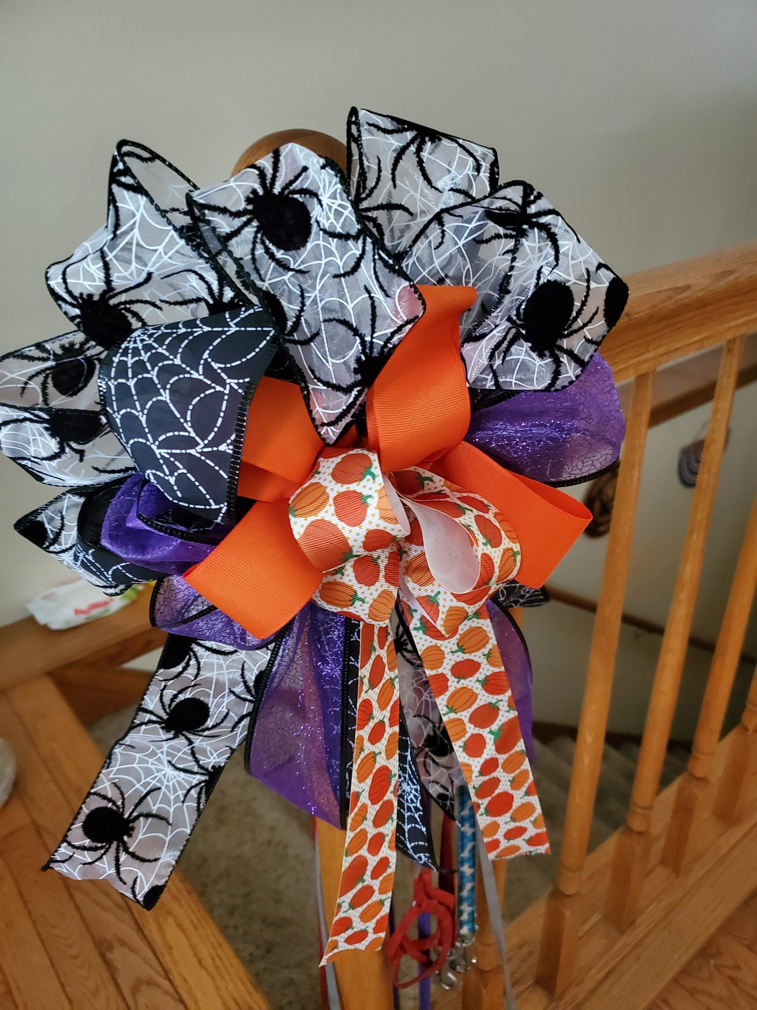 Halloween Bow/Decorative Wreath Bow/Spider Bow/Spiderweb Bow/Pumpkin Bow/Orange Bow