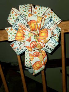 Thanksgiving Decorative/Wreath Bow/Polka Dots Bow/ Glitter Pumpkin Bow/Thankful Bow