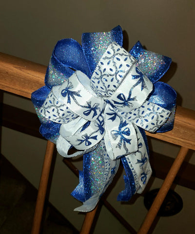 Christmas Bow/Decorative Wreath Bow/Blue and Silver Glitter/White,Blue and Silver Bow