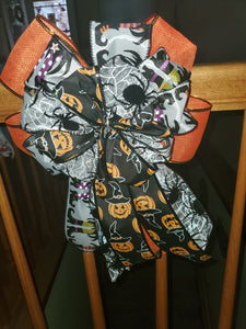 Halloween Bow/ Decorative Wreath Bow/Spider Bow/Witch Bow/Pumpkin Bow/Orange Bow