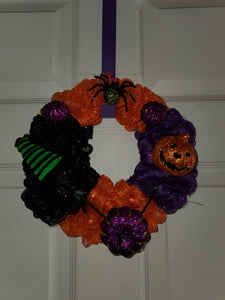 9In Halloween Wreath Orange/Black/Purple Mesh