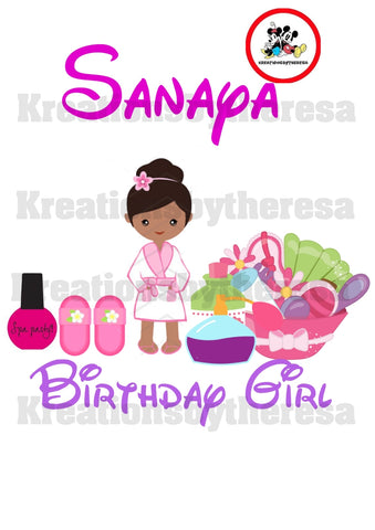 Spa Party Birthday Girl Iron On Transfer/ African American