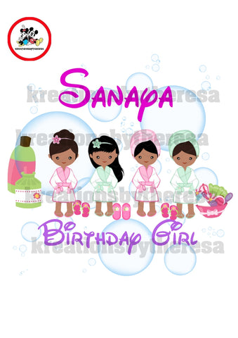 Spa Party Young Girl Birthday Entourage / African American Iron On Transfer