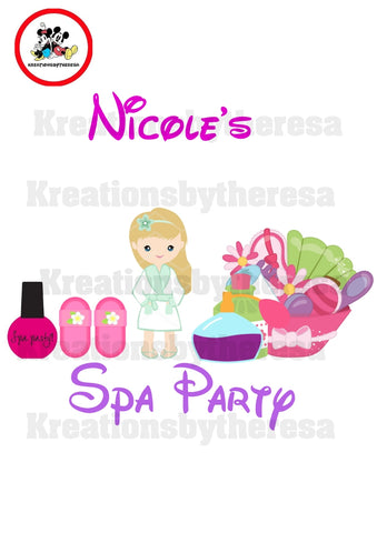 Spa Party Birthday Girl Iron On Transfer/Caucasian American