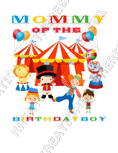 Circus Birthday Family Printable Iron On Transfers