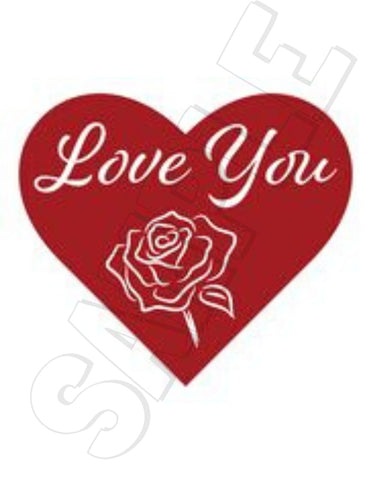 I love you heart with rose printable iron on transfer