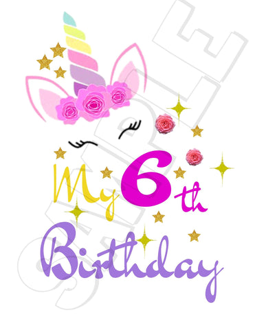 My Birthday Unicorn Printable Iron On Transfer