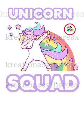 Unicorn Squad Birthday Girl Iron On Transfer