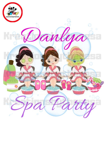 Spa Party Birthday Girl Entourage / Caucasian American Iron On Transfer