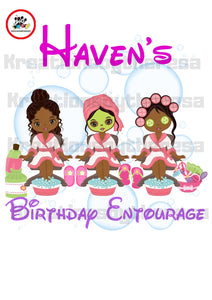 Spa Party Birthday Girl Entourage / African American Iron On Transfer