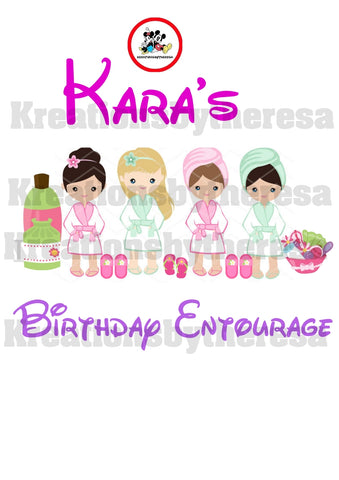 Spa Party Young Girl Birthday Entourage/ Caucasian American