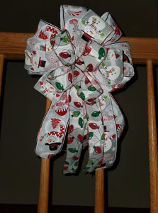 Christmas Bow/Decorative Wreath Bow/Snowman Bow/Snowman Merry Christmas/Christmas Lights Bow