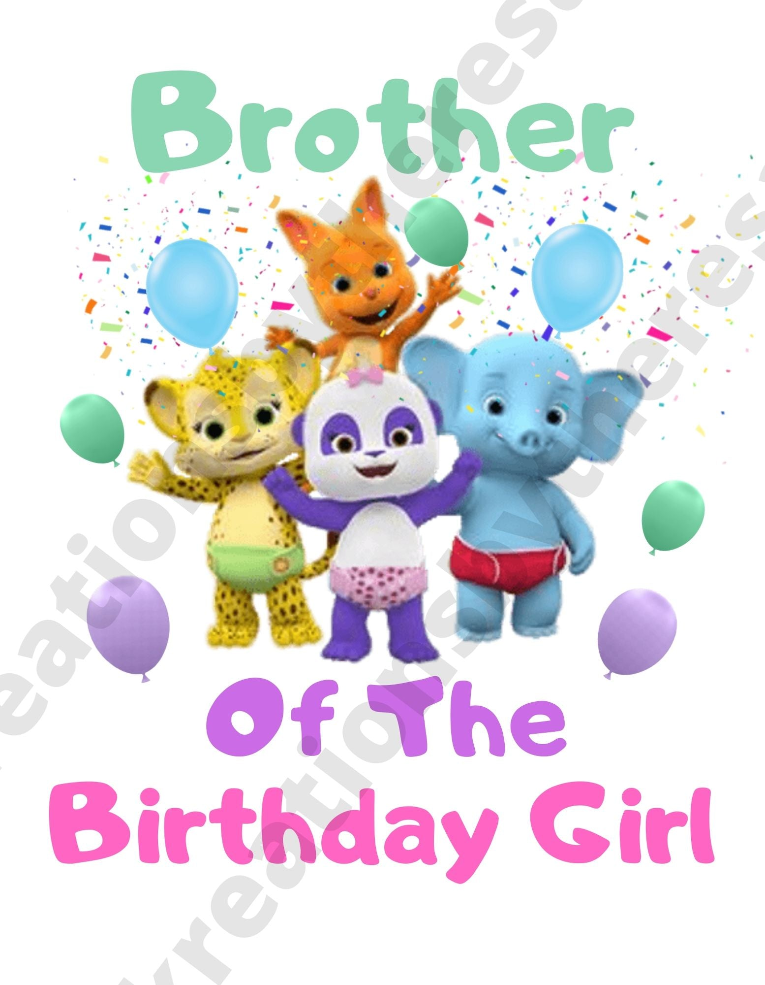 Word Party Inspired Brother Of The Birthday Girl Printable Iron On Transfer