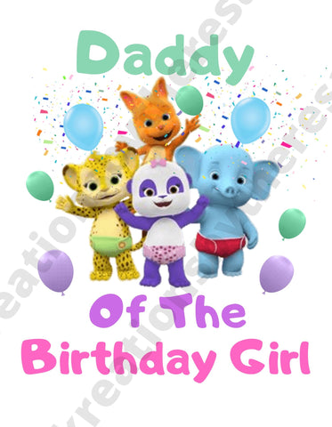 Word Party Inspired Daddy Of The Birthday Girl Printable Iron On Transfer