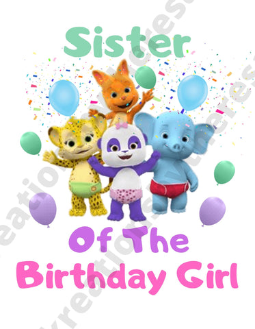 Word Party Inspired Sister Of The Birthday Girl Printable Iron On Transfer