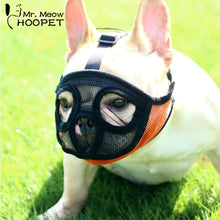 Load image into Gallery viewer, Hoopet Pet Small Dog French Bulldog Muzzle Dog Mouse Basket Breathable Muzzle for Dogs Leash Harness Supplies