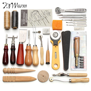 KiWarm Professional 37/61/18Pcs Leather Craft Tools Kit Hand Sewing Stitching Punch Carving Work Saddle Leathercraft Accessories