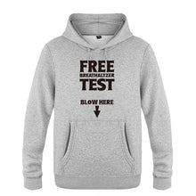 Load image into Gallery viewer, Free Breathalyzer Test Blow Here Funny Creative Hoodies Men, Men's Pullover Fleece Hooded Sweatshirts