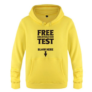Free Breathalyzer Test Blow Here Funny Creative Hoodies Men, Men's Pullover Fleece Hooded Sweatshirts