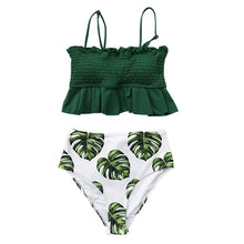 Load image into Gallery viewer, CUPSHE Smocked Green Leaf Print High-Waisted Bikini Sets Women Ruffle Two Pieces Swimsuits 2020 Girl Boho Bathing Suits