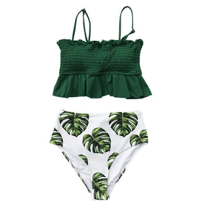 CUPSHE Smocked Green Leaf Print High-Waisted Bikini Sets Women Ruffle Two Pieces Swimsuits 2020 Girl Boho Bathing Suits