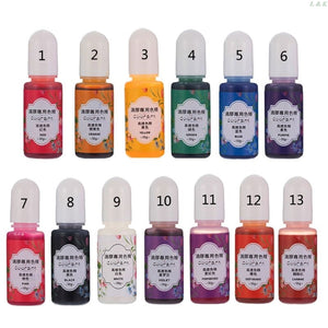 13 Colors Epoxy UV Resin Coloring Dye Liquid Epoxy Pigment Resin Colorant Fading Resistance10ml Translucent PXPC