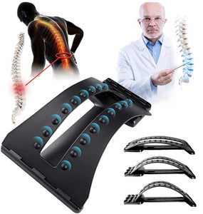 Back Massage Stretcher Lumbar Support Spine Pain Relief Chiropractic 18 Trigger Points 3-Level Stretching Device