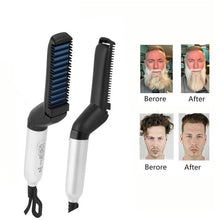 Load image into Gallery viewer, NEW Beard Straightener Multifunctional Hair Comb Brush Electric Quick Heating  Hair Straightening Iron Hair Styling Comb For Men