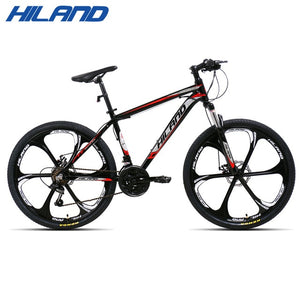 US warehouse HILAND 26 inch 21 Speed Aluminum Alloy Suspension Bike Double Disc Brake Mountain Bike Bicycle with Service
