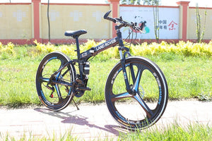 Folding Road Bicycle Mountain Bike 21 24 27 Speeds One Wheel Double Disc Brake Bike 26 Inch Mountain Bike
