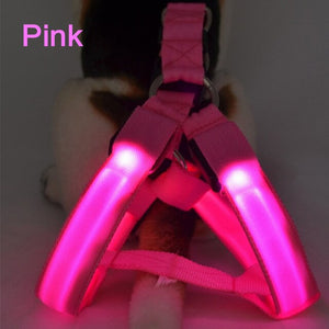 Dog Harness LED Flashing Collar Light Pet Dog Collar Luminous Leash for Dogs Rope Belt Dog Harness Vest Puppies Harness no Pull