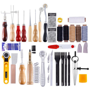 62Pcs/Set Leather Craft Tools Kit Hand Sewing Stitching Punch Carving Work Saddle Leathercraft Accessories