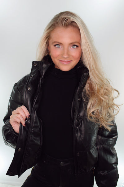 the harlee leather puffer jacket