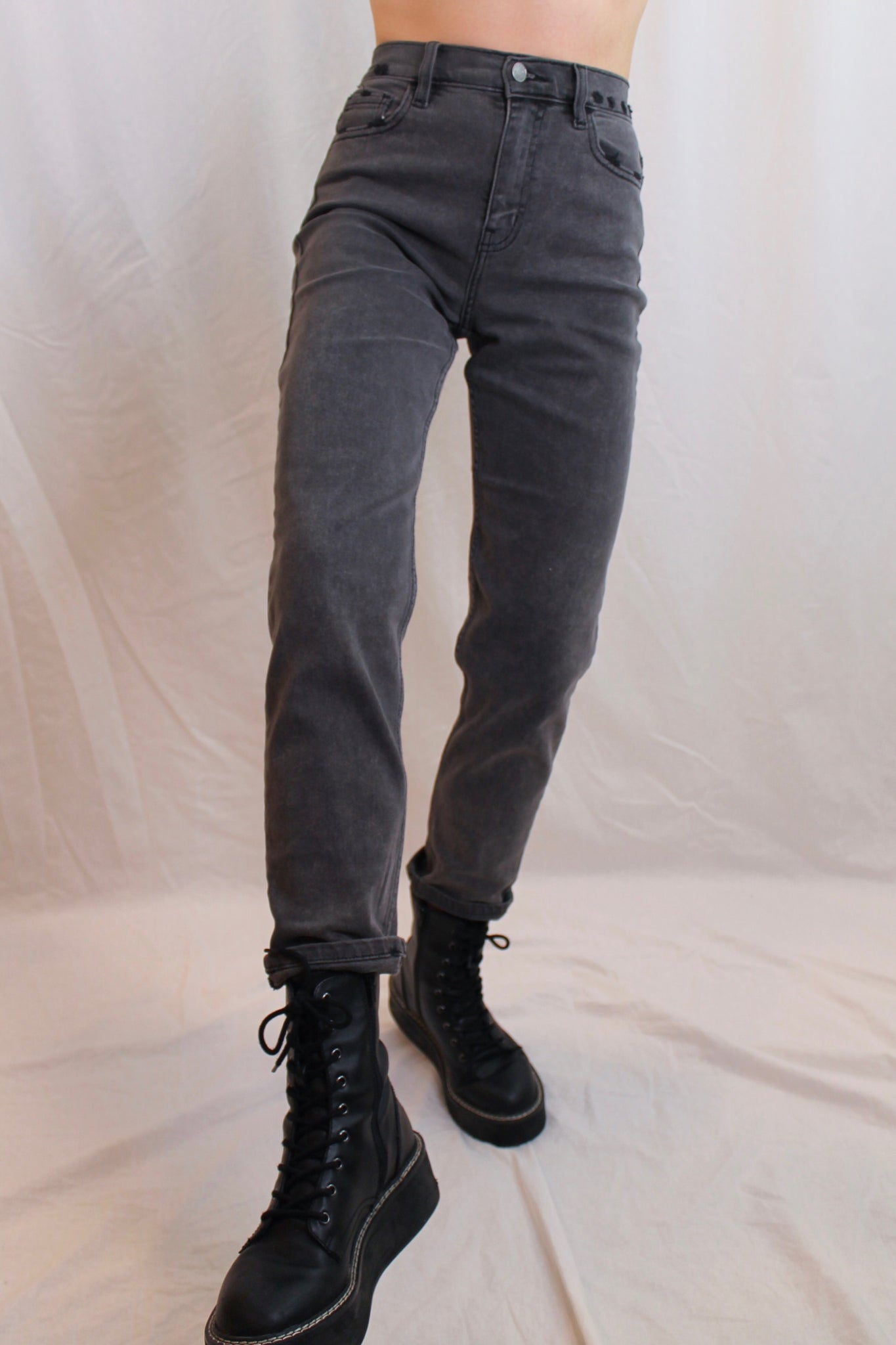 the grey high rise stretch jeans