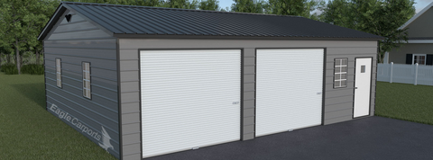 Large enclosed carport with 2 garage doors