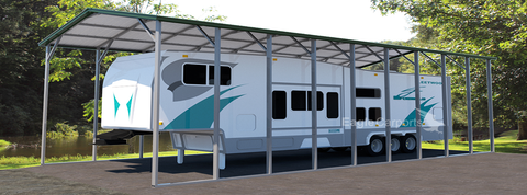 Tall and long carport with camper
