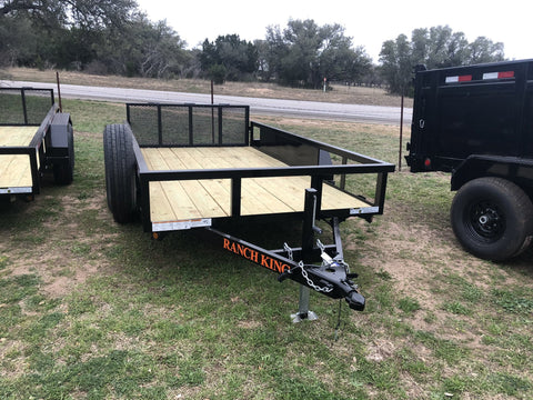 Ranch King 6'10 x12 Multi Purpose Tandem Axle Utility Trailer with bifold - 0456