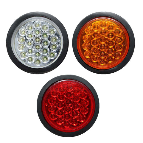 1x Rear Tail Brake Stop Marker Light Indicator Car Truck Trailer 24 LEDS Round Reflector Red Yellow White 24V