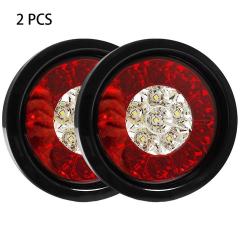 2PCS Running Plastic Trailer Truck Lamp Tail Light 4Inch Round Brake With Rubber Grommet 16LED Reverse Universal RV Backup
