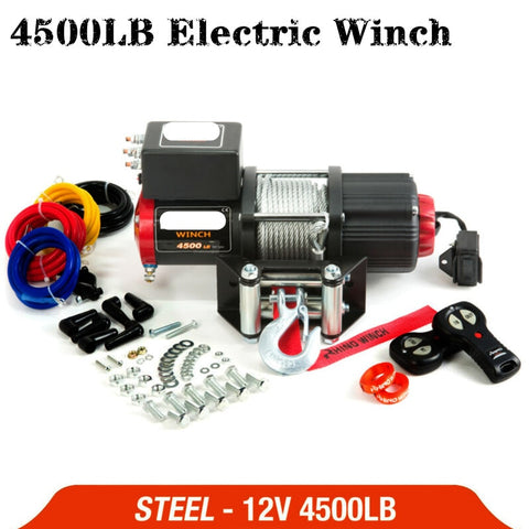 12v 4500lb  electric winch remote control set heavy duty ATV trailer high strength steel electric winch