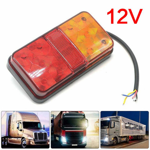 New 1 Pair 12V Waterproof Durable Car Truck LED Rear Tail Light Warning Lights Rear Lamp For Trailer Caravans Car Accessories