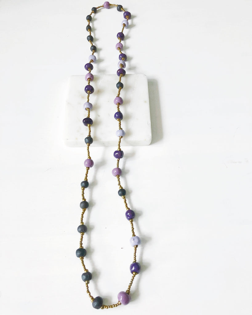 Plum Beaded Necklace