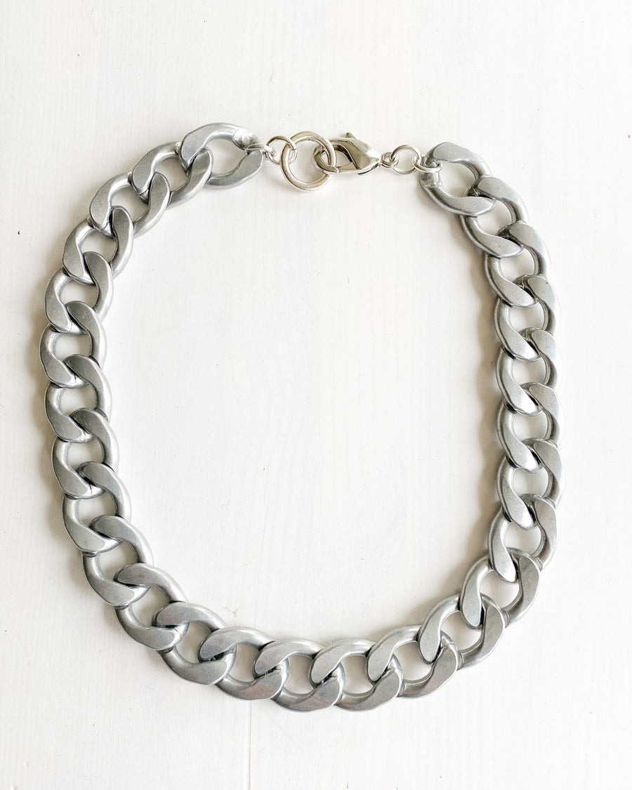 Wide Silver Chain Necklace, lays flat on your neckline. Very light to wear.