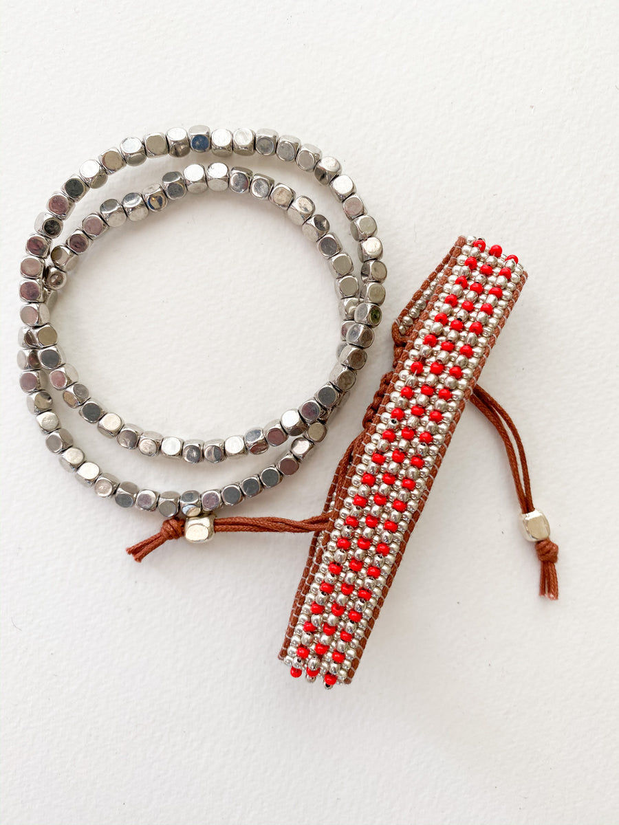 Red Beaded Bracelet Set