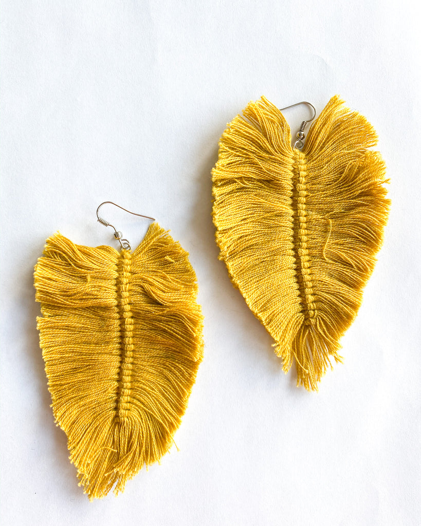Mustard Feather Earrings