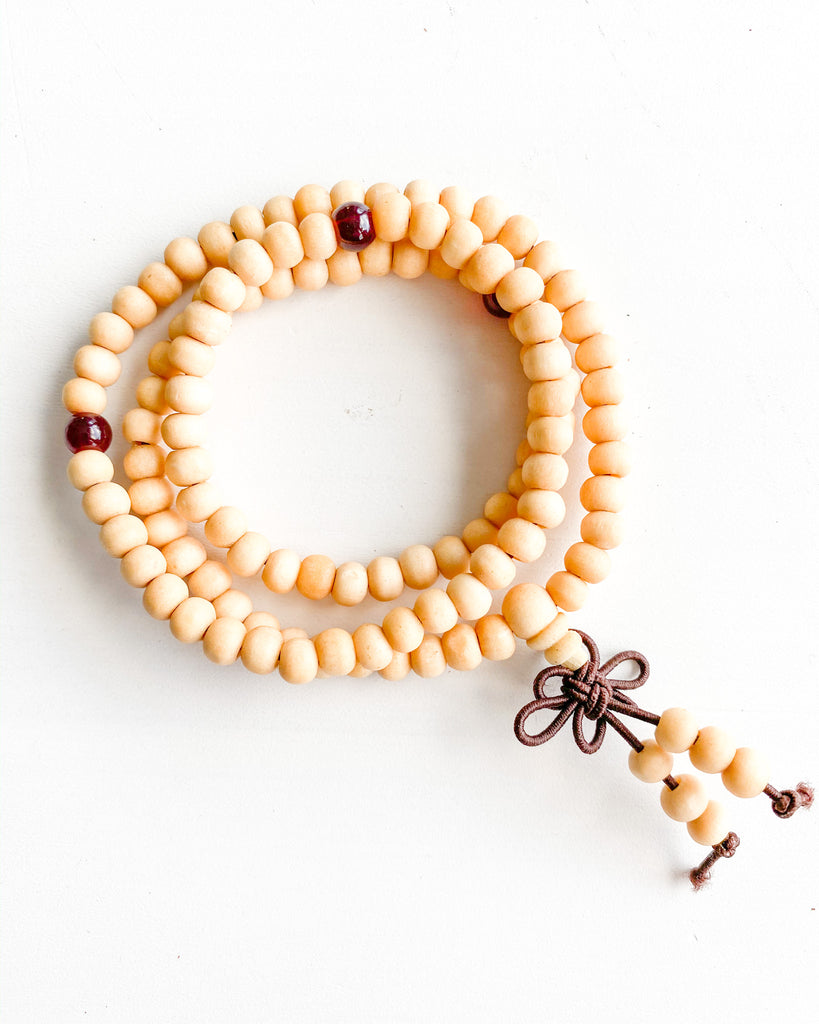 Buddha beaded wrap-Cream